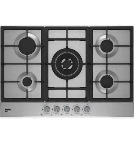 Table de cuisson à gaz 75 cm - 4 feux inox + 1 wok HIAW 75225 SX - Beko